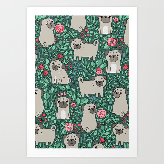Pugs and summer flowers Art Print
