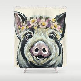 Pig Art, Flower Crown Pig, Farm Animal Shower Curtain