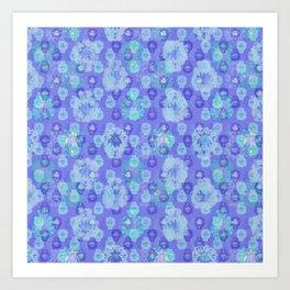 Lotus flower - pool blue woodblock print style pattern Art Print