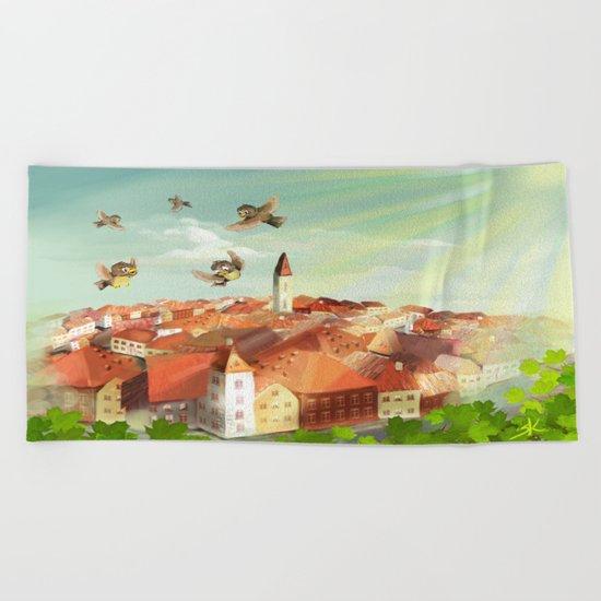 Sunny town Beach Towel