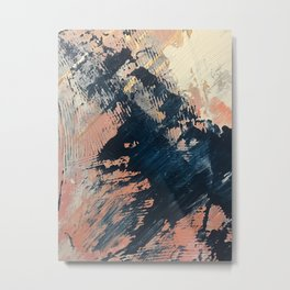 Hidden Gem [3]: an abstract mixed media piece in pink, blue, gold and white Metal Print