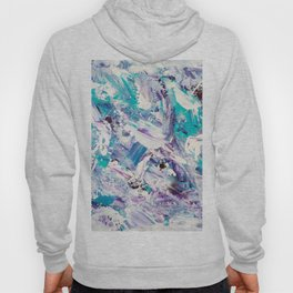 Purple turquoise blue abstract mermaid brushstrokes acrylic painting Hoody