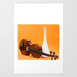 Still life with violin and white vase on an orange Art Print