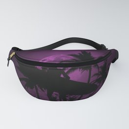 Purple Dusk with Surfergirl in Black Silhouette with Longboard Fanny Pack