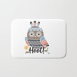 Hoot Boho Owl shirt Bath Mat