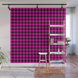 Bright Hot Neon Pink and Black Gingham Check Wall Mural