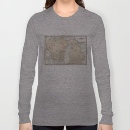 Vintage Map of Michigan & Wisconsin (1862) Long Sleeve T-shirt