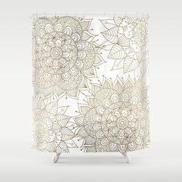 Elegant faux gold white spiritual floral mandala Shower Curtain