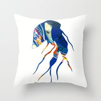 jelly fish Throw Pillows featuring Jelly Fish by Ingrid Holborn