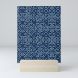 Floral leaf motif sashiko style japanese needlework pattern Mini Art Print