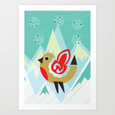 Festive Yule Snow Robin Art Print