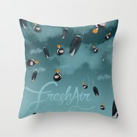 bombs away Throw Pillows featuring Bombs away by A Breath of Fresh Air