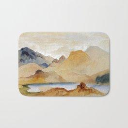 Cinnabar Mountain Yellowstone River Watercolour 1871 By Thomas Moran | Watercolor Reproduction Bath Mat