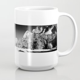 Panoramic Mirror Lake in Yosemite Valley National Park (Black and White) Coffee Mug