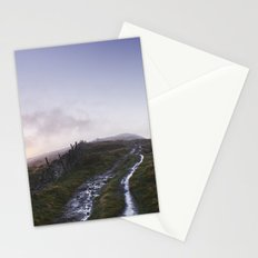 Mountain path and fence at sunset. Derbyshire, UK. Stationery Cards