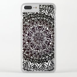 Black and White Detailed Mandala Clear iPhone Case