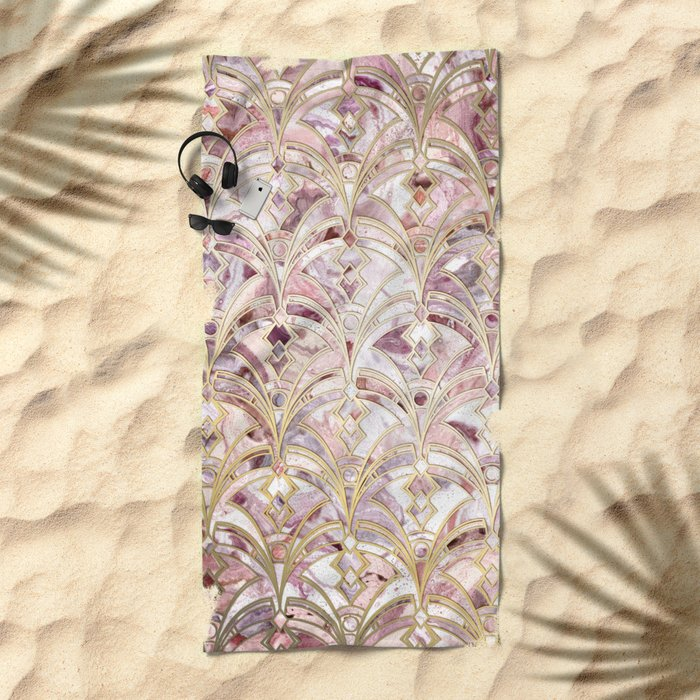 Dusty Rose and Coral Art Deco Marbling Pattern Beach Towel