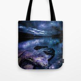 Magical Mountain Lake Indigo Teal Tote Bag