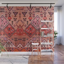N52 - Pink & Orange Antique Oriental Traditional Moroccan Style Artwork Wall Mural