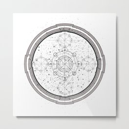 Science fiction style sacred geometry circle with celestial map Metal Print