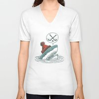 hockey V-neck T-shirts featuring Hockey Shark by Nick Volkert