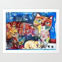 pugs Art Prints featuring PUGS by oxana zaika
