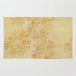 golden vintage damask floral pattern Rug