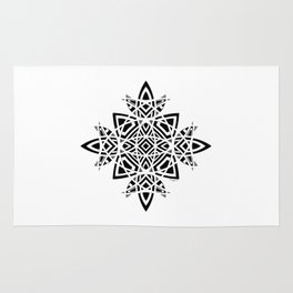 #8 Geometric Abstract Floral Ornament - Black And White Rug