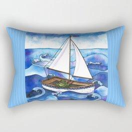 Froggy Goes Sailing Rectangular Pillow