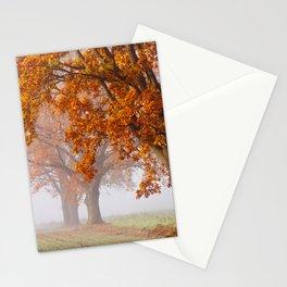 Oaks in the misty Autumn morning (Golden Polish Autumn) Stationery Cards
