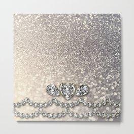 Diamonds and sparkles I- Silver elegant glitter design Metal Print