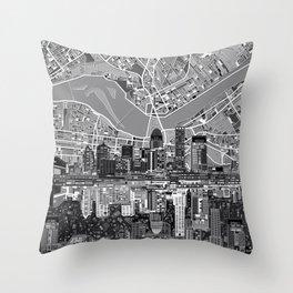 louisville city skyline 3 Throw Pillow