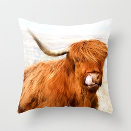 Highland Cow Licking its Nose Throw Pillow