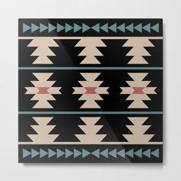 Southwestern Pattern 134 Black Burgundy Beige and Teal Green Metal Print