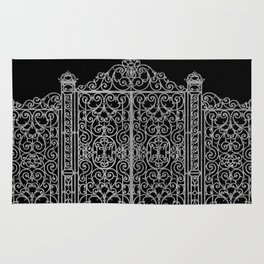 French Wrought Iron Gate | Louis XV Style | Black and Silvery Grey Rug