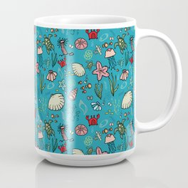 Beach and underwater pattern - fish and turtles and sea shells, oh my! Coffee Mug