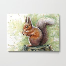 Squirrel Watercolor Painting Metal Print