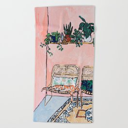 Two Chairs and a Napping Ginger Cat Beach Towel