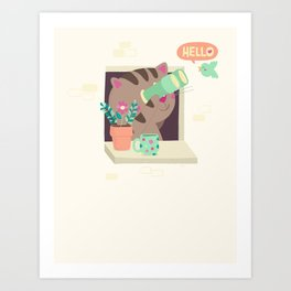 Hello Cat Art Print