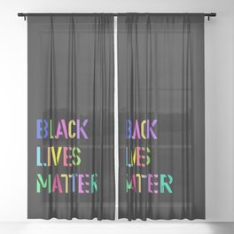 Black Lives Matter Colorful Stencil 1 Sheer Curtain