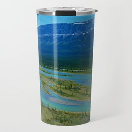 Looking over the Athabasca River on the east end of Jasper National Park, Canada Travel Mug