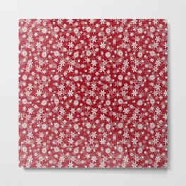 Christmas Cranberry Red Jelly Snow Flakes Metal Print