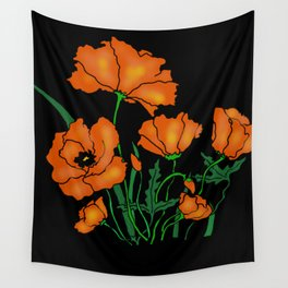 Black Poppin Poppys Wall Tapestry