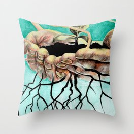 Root Hands Throw Pillow