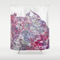 edinburgh Shower Curtains featuring Edinburgh Map by MapMapMaps.Watercolors