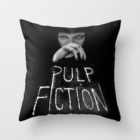 pulp fiction Throw Pillows featuring Pulp Fiction by Demetria Rose