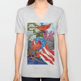 Patriotic Cardinals Unisex V-Neck