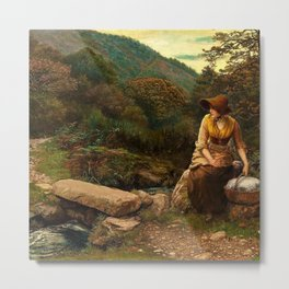 Classical Masterpiece The Footstep by Arthur Hughes Metal Print