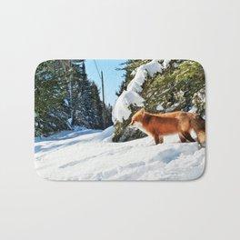 Happy Red Fox in Fresh Snow in Algonquin Bath Mat