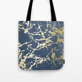 Kintsugi Ceramic Gold on Indigo Blue Tote Bag